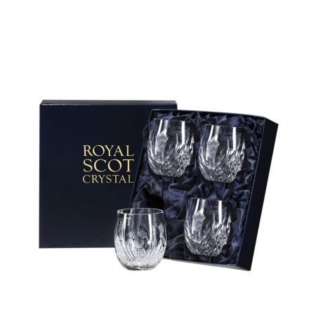Scottish Thistle - 4 Barrel Tumblers  85mm (Presentation Boxed) | Royal Scot Crystal
