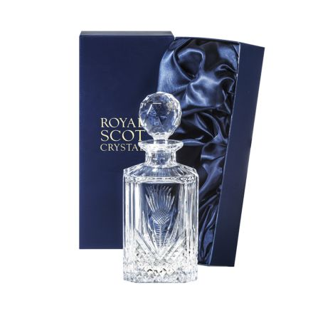 Scottish Thistle - Square Spirit Decanter 245mm (Presentation Boxed) | Royal Scot Crystal