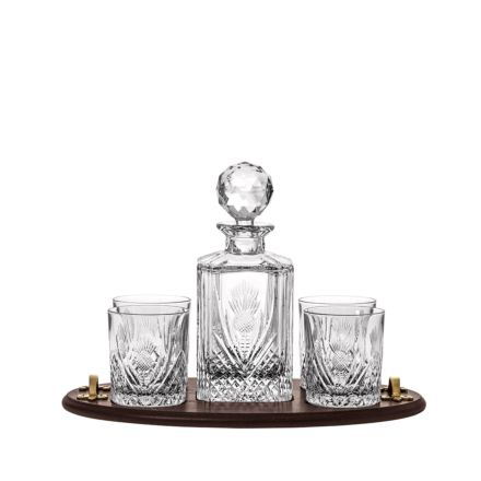 Scottish Thistle - Club Tray Inc. Crystal Square Spirit Decanter & 4 Large Crystal Tumblers (Solid Oak) -  (Gift Boxed) | Royal Scot Crystal