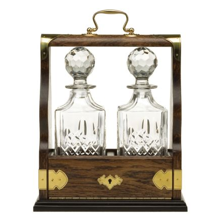 Westminster Double Tantalus Containing 2 Crystal Square Spirit Decanters  - (Gift Boxed) | Royal Scot Crystal