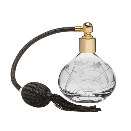 Sweet Pea Glass Perfume Bottle (Round) with Black Atomiser (Gift Boxed)