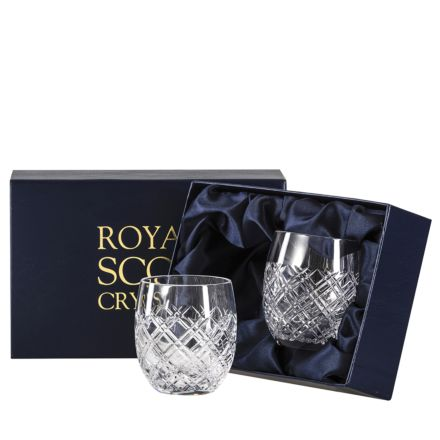 Tartan Crystal 2 Large Barrel / Water Tumblers  - 95 mm (Presentation Boxed) | Royal Scot Crystal