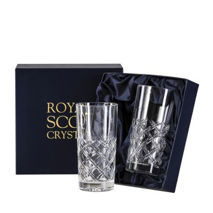 Tartan - 2 Crystal Tall Tumblers 150mm (Presentation Boxed) | Royal Scot Crystal