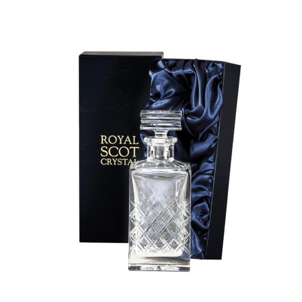 Tartan - Crystal Square Spirit Decanter 240mm (Presentation Boxed) | Royal Scot Crystal