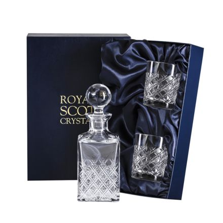 Tartan - Crystal Square Spirit Set Decanter & 2 Tumblers(Presentation Boxed) | Royal Scot Crystal