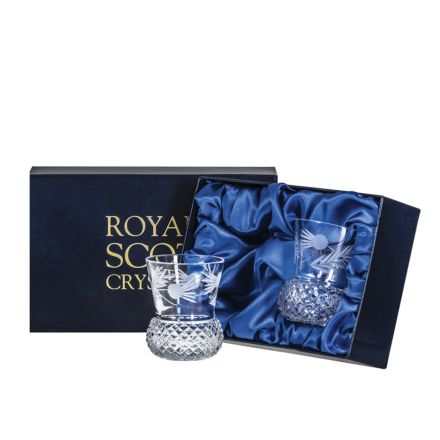 Flower of Scotland 2 Whisky Tumbler (Thistle Shape)  - 85mm (Presentation Boxed) | Royal Scot Crystal