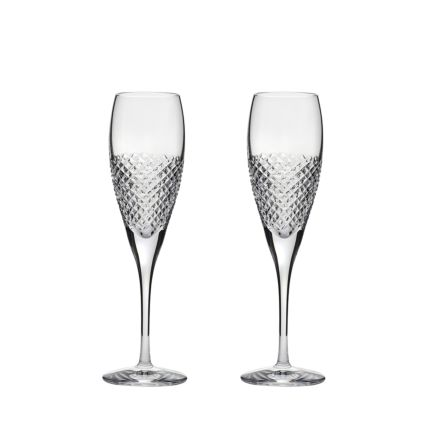 Tiara - 2 Crystal Crystal Champagne Flutes 218mm (Gift Boxed) | Royal Scot Crystal
