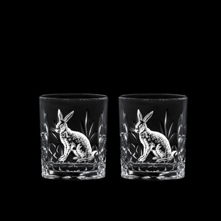 British Wildlife - 2 Kintyre Tot (SHOT) Glass engraved HARE (60mm, 6cl) (Gift Boxed) - NEW