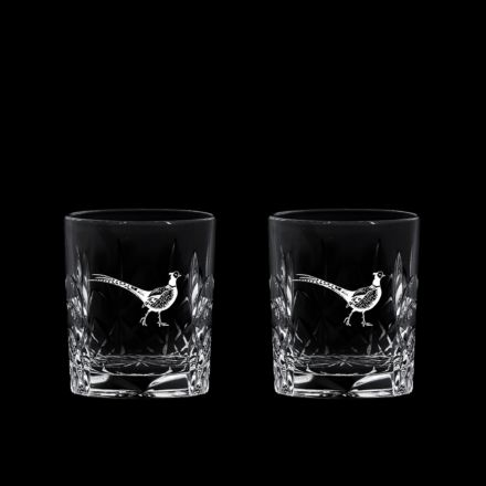 British Wildlife - 2 Kintyre Tot (SHOT) Glass (60mm, 6cl) engraved PHEASANT (Gift Boxed) - NEW