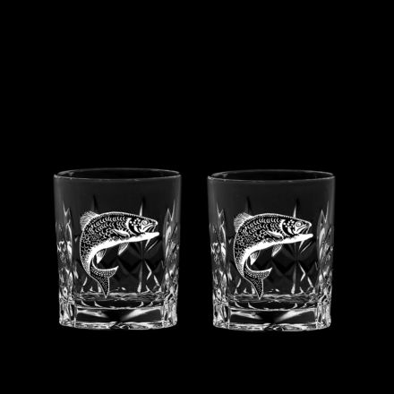 British Wildlife - 2 Kintyre Tot (SHOT) Glass engraved SALMON (60mm, 6cl) (Gift Boxed) - NEW