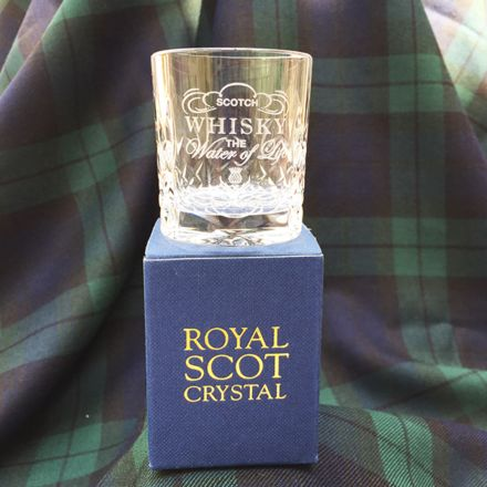 *Kintyre Tot (Shot) Glass engraved 'Whisky - The Water of Life' (Gift Boxed)
