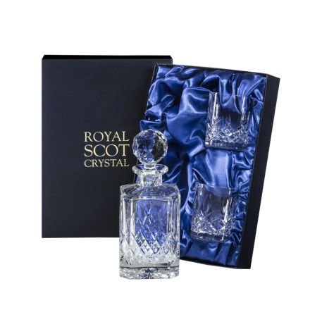 Westminster- Whisky Set (Sq Spirit Decanter & 2 Large Tumblers) (Presentation Boxed) | Royal Scot Crystal