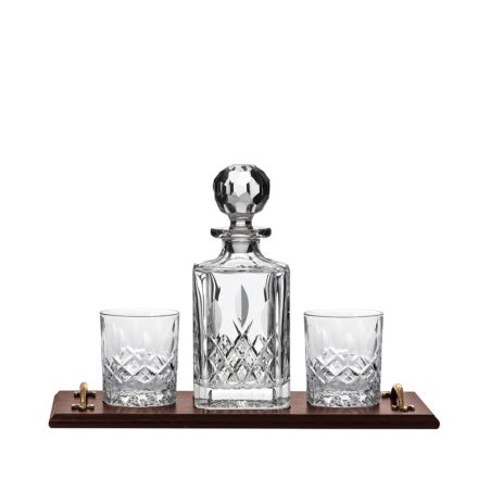 Whisky Tray (Solid Oak) with Crystal Westminster Square Spirit and 2 Large Crystal Tumblers - (Gift Boxed) | Royal Scot Crystal